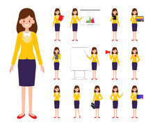 Set Business Woman Character I...