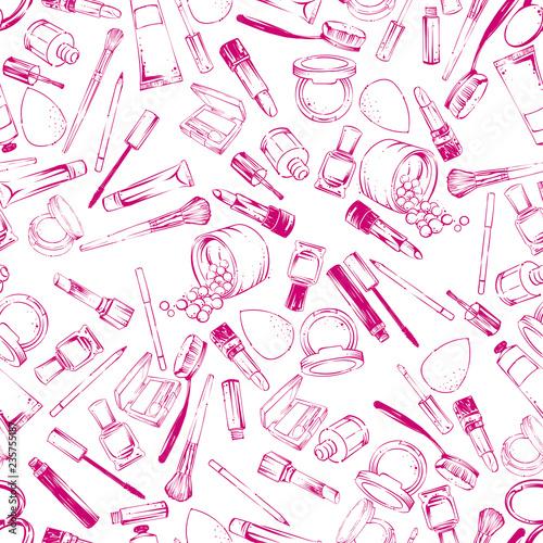 Poster Doodle Cosmetics stuff seamless pattern
