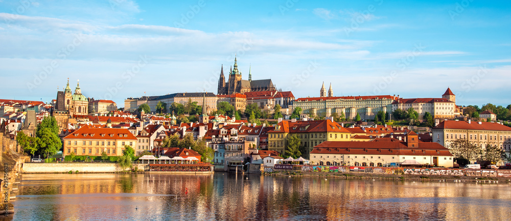 Fototapety, obrazy: The beautiful landscape of the old town and the Hradcany (Prague Castle) with St. Vitus Cathedral and St. George church in Prague, Czech Republic. amazing places. popular tourist atraction