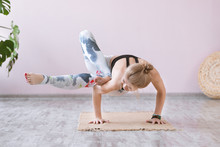 Yoga Woman Training On Exercis...