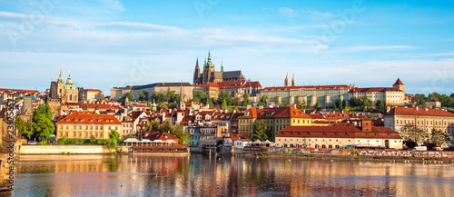 Deurstickers Europa The beautiful landscape of the old town and the Hradcany (Prague Castle) with St. Vitus Cathedral and St. George church in Prague, Czech Republic. amazing places. popular tourist atraction