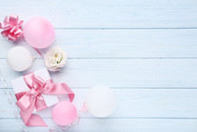 Gift Box With Balloons And Eus...