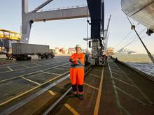 Docks Supervisor Taking Controll Of Loading Process At Port Docks