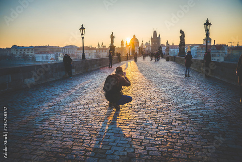 Prague, Czech Republic - Match 25th 2018: Charles Bridge Canvas Print