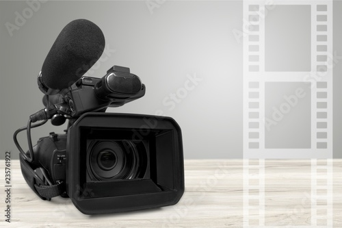 Professional video camera  on white background Canvas-taulu