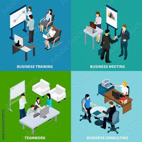Foto  Office Isometric Design Concept
