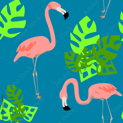 Canvas Prints Flamingo Bird Bright flamingo pattern. Seamless vector pattern