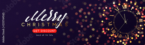 Christmas banner. Background with shining vintage golden clock, bright glowing gold lights bokeh.