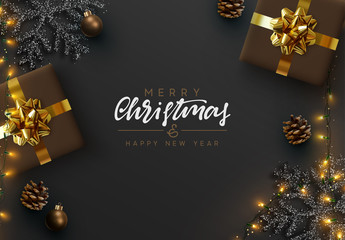 Panel SzklanyChristmas banner. Background Xmas design of sparkling lights garland, realistic gifts box, black snowflake and glitter gold. Christmas poster, greeting cards, headers, website. Stylish black pattern