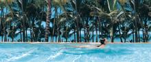 Panorama Of Woman Swimming In ...
