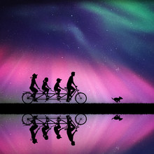 Family On Bike Tandem In Park At Night. Vector Illustration With Silhouettes Of Cyclists On Bicycle And Running Dog. Northern Lights In Starry Sky. Colorful Aurora Borealis.