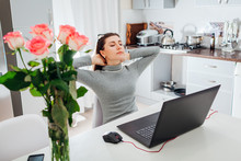 Woman Relaxing After Working O...