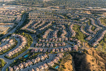 Aerial View Of Cul De Sac Streets And Houses In The Porter Ranch Area Of Los Angeles, California.