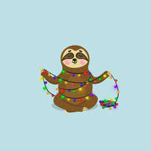 Christmas Greeting Card With Cute Sloth. Flat Sloth Character Illustration. Funny Animal With Christmas Garland With Lights