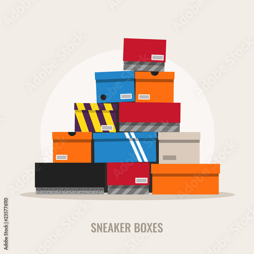 Photo  Sneaker boxes, flat design style illustration.