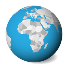 Blank Political Map Of Africa. 3D Earth Globe With Blue Water And Grey Lands. Vector Illustration.