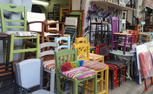 Many Old Chairs On Street Market For Sale