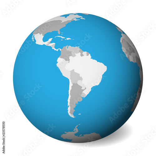 Map Of America 3d Vector.Blank Political Map Of South America 3d Earth Globe With Blue Water