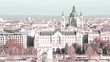 Budapest, Hungary - cityscape, view on the city, Danube river, architecture, landmark, tourist destination. Slow pan. Pink toned.