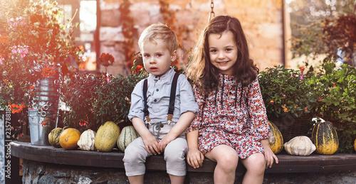 Poster Artist KB Portrait of little siblings on a farm