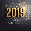 canvas print picture - Black and gold New Year 2019 Greeting card