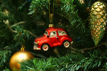 Red Car Toy, Cone And Ball On Christmas Tree