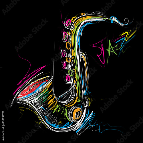Fotografie, Obraz Abstract Saxophone Sketch, Sax Jazz Art (Vector Art)