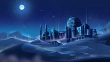 Castle At Night In Desert