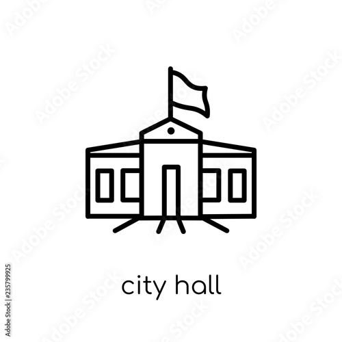 City hall icon. Trendy modern flat linear vector City hall icon on white background from thin line Architecture and Travel collection