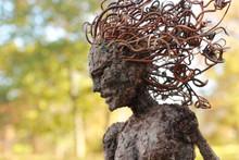 Fantasy Tree Woman, Hamadryad, Gazes Down With Autumn Background