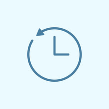 Clock And Circular Arrow Field Outline Icon. Element Of 2 Color Simple Icon. Thin Line Icon For Website Design And Development, App Development. Premium Icon