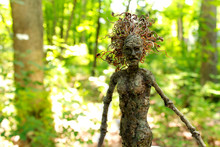 Fantasy Tree Woman, Hamadryad, With Spring Forest Background