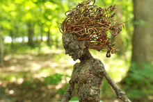 Fantasy Tree Woman, Hamadryad, With Bright Summer Forest Background