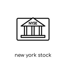 New York Stock Exchange Icon. Trendy Modern Flat Linear Vector New York Stock Exchange Icon On White Background From Thin Line Business Collection