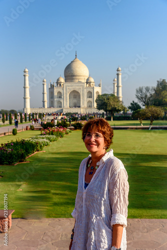Fotografie, Obraz  A Middle Aged Caucasian Tourist in Front of the  Taj Mahal in Agra India