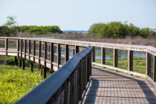 Nobody On Wooden Boardwalk Bri...