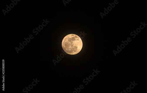 Super full moon in night sky,The Blue moon Canvas Print