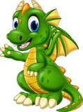 Fototapeta Dinusie - Cartoon baby dragon presenting