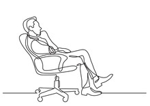 Continuous Line Drawing Of Business Situation - Man Sitting In Office Chair Thinking