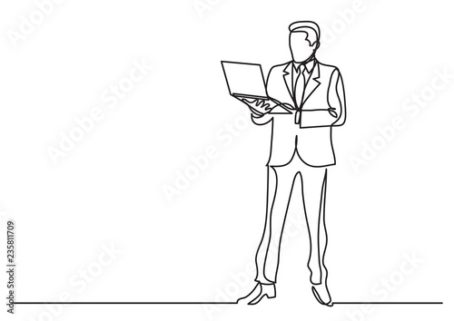 continuous line drawing of business situation - businessman standing with laptop computer