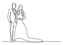 Continuous Line Drawing Of Happy Groom Bride Standing At Wedding