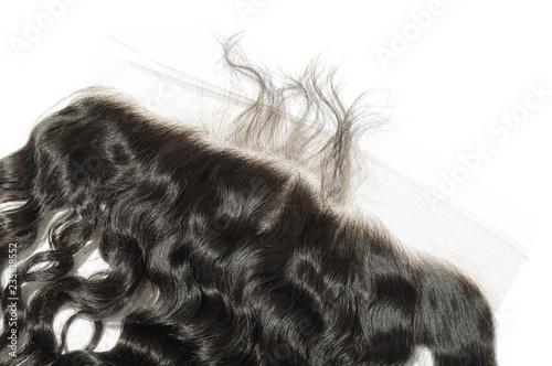 Loose deep curly black human hair weaves extensions lace closure frontal Wallpaper Mural