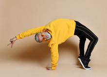 Happy Senior Millionaire Man Dancing In Yellow Sunglasses Stylish Fashionable Men Senior