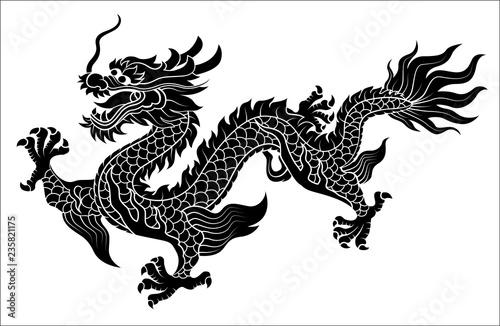 Chinese dragon crawling Fotobehang