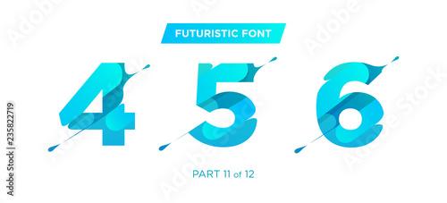 Obraz na płótnie Vector Unique Futuristic Numbers