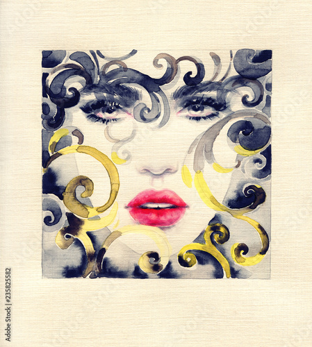 Poster Portrait Aquarelle golden cage. beautiful woman. fashion illustration. watercolor painting