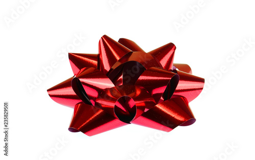 Foto red bow isolated on the white background