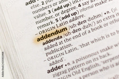 The word or phrase Addendum in a dictionary. Canvas Print