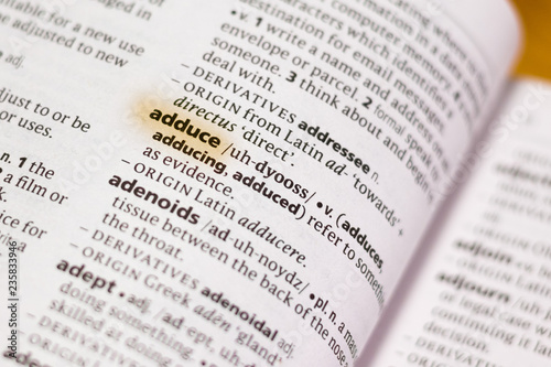 Photo The word or phrase Adduce in a dictionary.