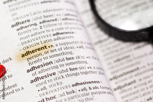 Photo The word or phrase Adherent in a dictionary.
